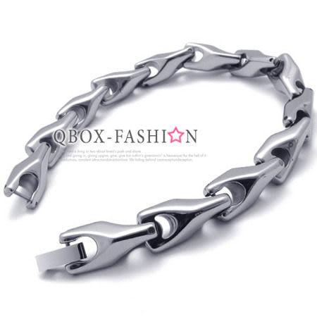 《 QBOX 》FASHION 飾品【B10020998】精緻高檔個性鑽石鏡面環扣鎢鋼手鍊/手環(限量版)