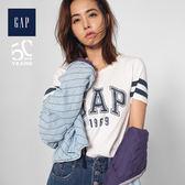 Gap女裝 Jolin同款Logo條紋裝飾短袖T恤 443154-雪花白色