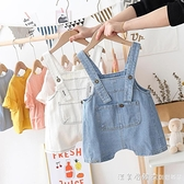 男女寶寶牛仔背帶短褲小童2021新款夏裝嬰兒韓版洋氣兒童吊帶褲潮 美眉新品