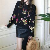 秋冬新款韓國chic花朵刺繡寬松顯瘦套頭長袖毛衣 針織衫9919FZ2F-2F096-A朵維思