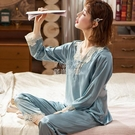 春秋季女款新品睡衣女士長袖長褲真絲綢套裝休閒寬鬆韓版家居服 快速出貨