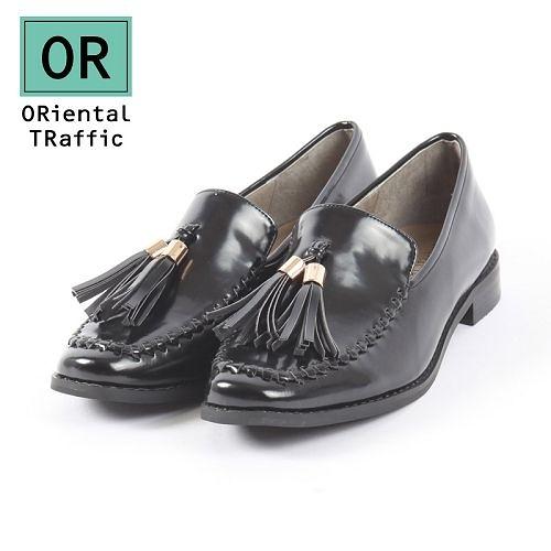 【ORiental TRaffic】時髦編織方頭流蘇樂福鞋-率性黑