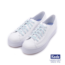 KEDS 彩帶厚底帆布休閒鞋 白 183...
