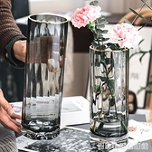 北歐簡約 輕奢透明花瓶水養富貴竹百合玻璃插花瓶客廳餐桌擺件居家物语