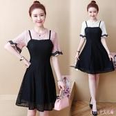 大碼短袖洋裝 新款假兩件蕾絲連身裙中長款A字裙子女裝潮 HT20927