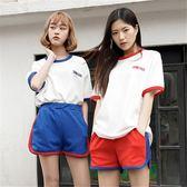 運動套裝 休閒運動套裝女夏新款ulzzang原宿風時尚寬管短褲跑步兩件套 芭蕾朵朵