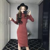 2019秋冬新款針織修身洋裝女高領中長款長袖大碼包臀打底裙女潮