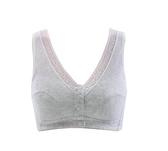 媽媽內衣薄款文胸中老年無鋼圈透氣棉布前扣胸罩大碼背心式夏季