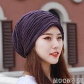 頭巾帽 頭巾帽男女包頭帽大頭圍春夏時尚褶皺堆堆帽月子帽空調帽光頭帽 快速出貨