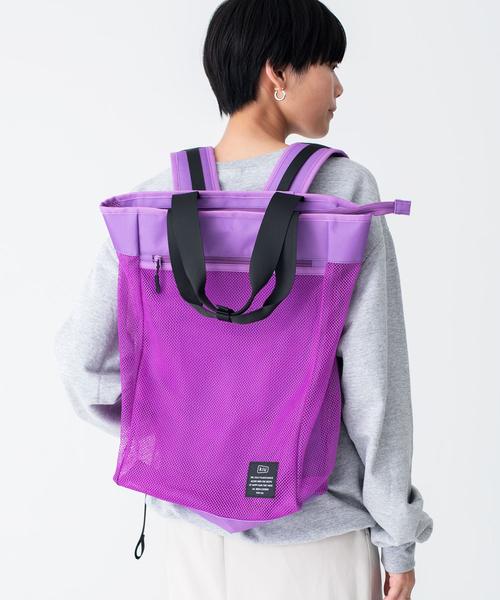 日本 KiU 112-935 螢光黃 側背後背2用大容量托特包: 一包變兩包, 內袋可抽出變防水購物袋