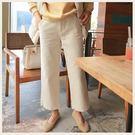 ✦Styleon✦正韓。玳瑁釦純棉寬管直筒九分長褲。韓國連線。韓國空運。1114。