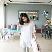 聖誕節狂歡 夏季短袖中長款V領t恤女寬鬆簡約百搭純白打底衫純棉韓版上衣體恤 東京衣櫃