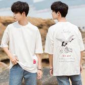 原宿中國風新款韓版寬鬆個性刺繡花短袖T恤男韓版寬鬆5五分袖潮流