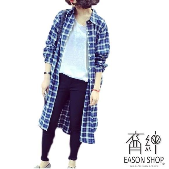 EASON SHOP(GU5552)中長款OVERSIZE長版格子長袖襯衫薄外套格紋落肩女上衣服春夏裝韓版寬鬆長款
