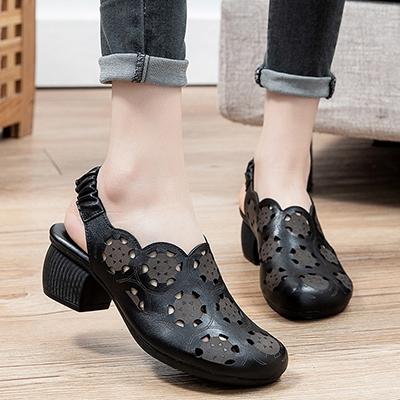包頭粗跟涼鞋 真皮手工女鞋 鏤空透氣涼鞋/2色-夢想家-標準碼-0409