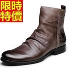 中筒機車靴-真皮革復古做舊男牛仔靴3色6...