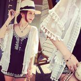 夏季海邊沙灘防曬衫女寬鬆百搭純色流蘇披肩雪紡蕾絲開衫薄款外套【販衣小築】