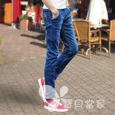 夏季薄款彈力男士牛仔褲男休閑修身小腳褲韓版潮流黑色直筒長褲子