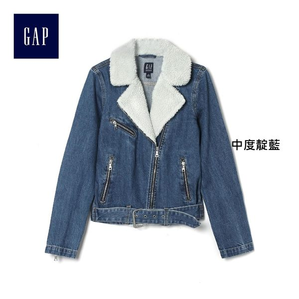 Gap女裝 休閒舒適長袖牛仔服 366184-中度靛藍