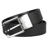 dunhill 亮面金屬碳纖維皮革扣式皮帶-黑色 250589