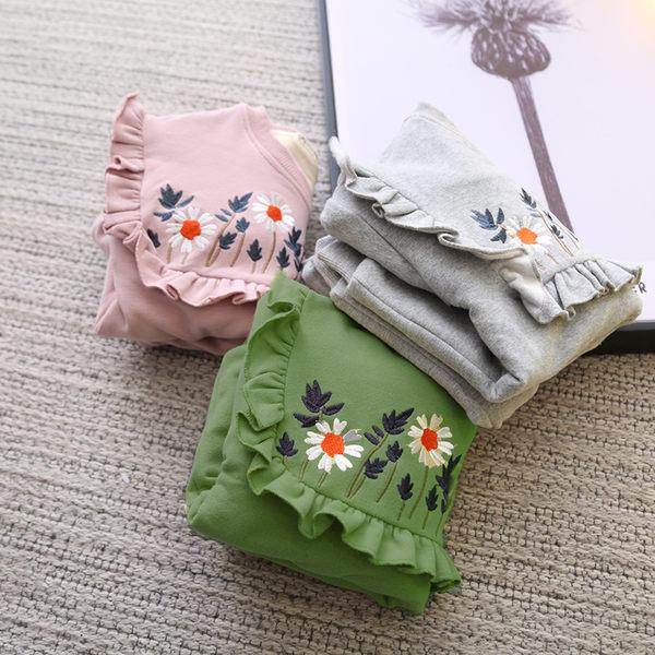 *╮小衣衫S13╭*圓領方形花邊刺繡小雛菊加絨長袖上衣1061202