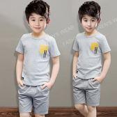男童夏裝新款5條紋套裝6兒童夏季7童裝8歲短袖兩件套潮秋洋氣 一米陽光