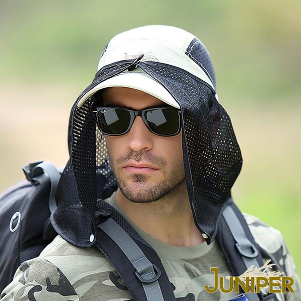 防曬帽子-抗紫外線UV運動遮陽帽+可拆式披風J7545A JUNIPER