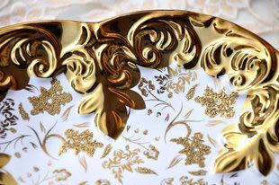 新房裝飾現代簡約陶瓷鍍金工藝 水果盤