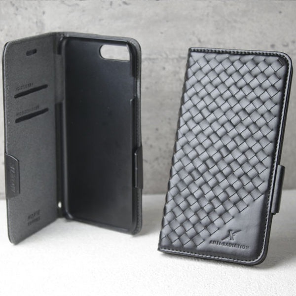 手機 皮套 - iPhone 8 plus / 7 plus - 防電磁波 - 精緻真皮 - 格紋 - 紳士黑 【Moxie 摩新科技】