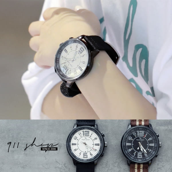Galaxy.V6品牌。鉚釘大數字粗獷風帆布寬織帶手錶【ta537】*911 SHOP*
