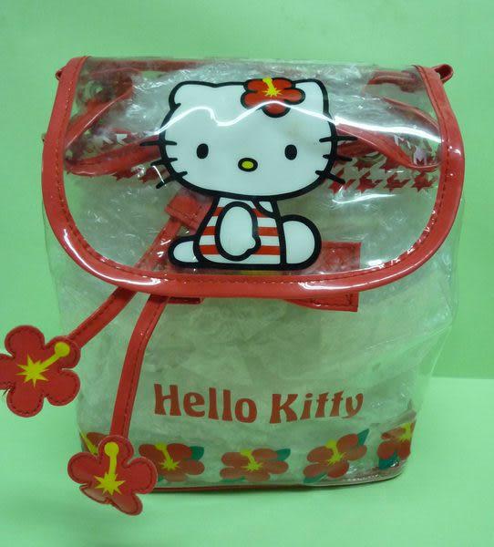 【震撼精品百貨】Hello Kitty 凱蒂貓~防水透明後背包『扶桑紅花』