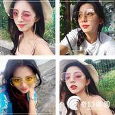 網紅墨鏡女潮海洋片復古大框顯瘦太陽鏡圓平光鏡珍珠鼻托手掌眼鏡-奇幻樂園