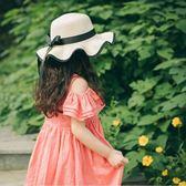 帽子女春夏季兒童出游防曬遮陽大檐帽親子女童沙灘帽母女海邊帽子 全館免運