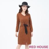 【RED HOUSE 蕾赫斯】綁帶針織洋裝(卡其)