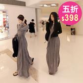 洋裝 春韓系寬鬆圓領連身長裙 花漾小姐【預購】