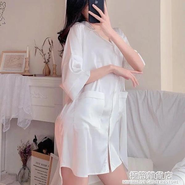 睡裙女2021年新款春夏網紅爆款時尚洋氣韓版短袖睡衣男友風白襯衫 極簡雜貨