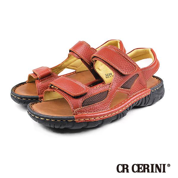 【CR CERINI】輕量氣墊真皮休閒涼鞋  咖啡(40773-BR)