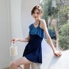 泳衣 女2021新款韓版連體裙式游泳衣平角保守遮肚顯瘦連體泳裝【牛年大吉】
