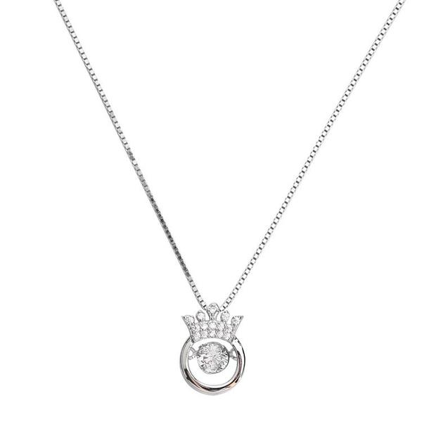 925純銀皇冠項鍊跳動的心鎖骨鍊心跳靈動吊墜女水晶簡約短款銀飾