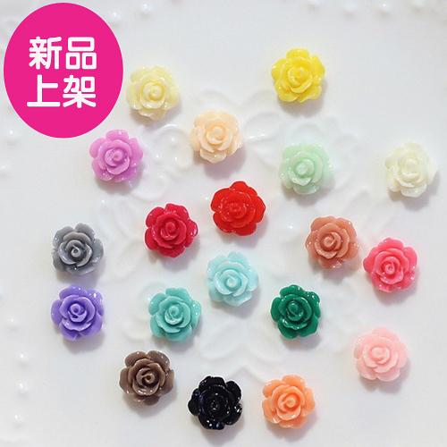 美甲飾品~指甲DIY百搭糖果色山茶花配飾 10mm (3入組)