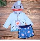 男童泳裝 鯊魚兩截式防曬連帽泳衣泳褲 88732