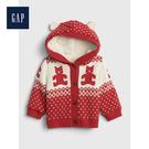 Gap男女嬰兒小熊圖案人造羊毛絨襯裏長袖針織衫513709-摩登紅色