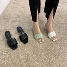 蕾拉 小輕熟風菱格一字低跟拖鞋女外穿夏季新款時尚異形跟涼拖ins