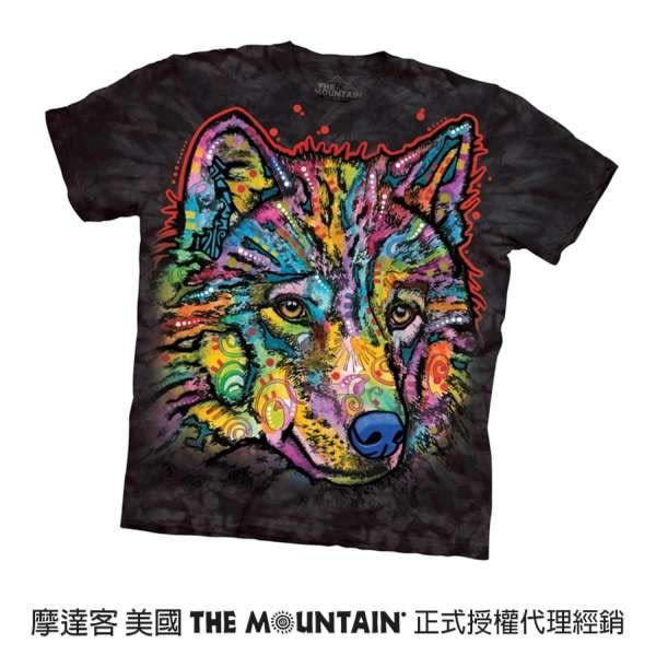【摩達客】(預購)(大尺碼4XL、5XL)美國進口The Mountain 彩繪快樂狼 純棉環保短袖T恤(10416045130a)