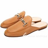 TOD'S Double T 金屬設計牛皮穆勒鞋(女鞋/奶糖色) 2040295-B3
