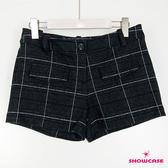 【SHOWCASE】冬款厚磅大格紋俏麗短褲(黑)