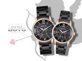【時間道】GOTO 經典羅馬三眼系列 對錶 /黑面玫瑰金框 (GS6023L/M-43-341)免運費