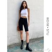 薄款黑色牛仔五分褲短褲緊身顯瘦2020夏季新款中褲高腰百搭騎行褲 第一印象