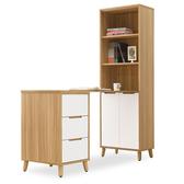 【時尚屋】[NM29]肯詩特烤白L型書桌雙門書櫃組NM29-596-1+596-2+594免運費/免組裝/書桌/書櫃