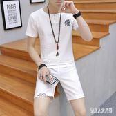 休閒套裝男 中國風帥氣半袖兩件套休閒運動衣服 QW2038『俏美人大尺碼』